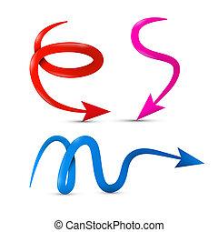 curvado, vetorial, vermelho, cor-de-rosa, azul, 3d, setas,...