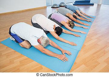 curvando, grupo, condicão física, fila
