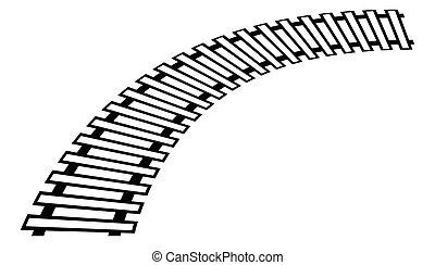 curvar, silueta, pista, trilha grade, isolado, trem