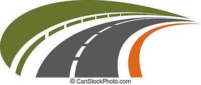 curvar, tarred, estrada, receding, em, a, distância