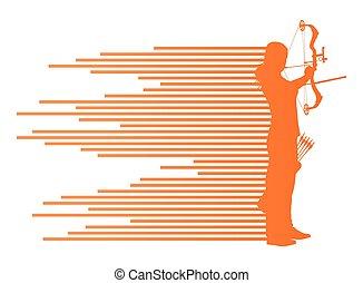 curvatura, conceito, arqueiro, vetorial, arco, mulher, fundo