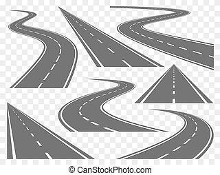 curvatura, estradas, vetorial, jogo