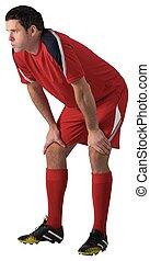 curvatura, jogador, sobre, futebol, cansadas