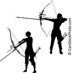 curvatura, jogo, silueta, alvo, arco, arqueiro, atraente, femininas, apontar