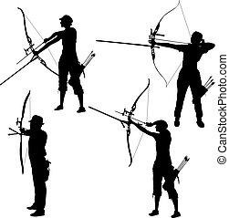 curvatura, jogo, silueta, alvo, macho, arco, arqueiro, atraente, femininas, apontar