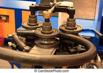 curvatura, máquina, metal, tubos