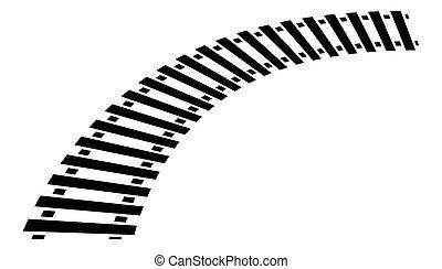 curvatura, silhouette, pista, pista sbarra, isolato, treno