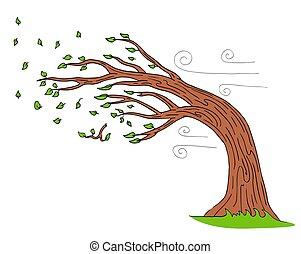 curvatura, soprando, árvore, dia ventoso, vento