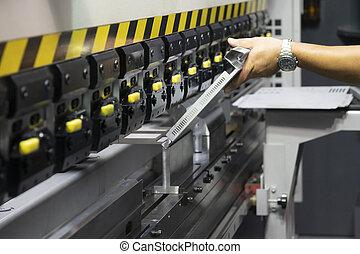 curvatura, uso, machine., hidráulico, técnico, operador