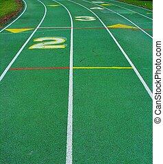 Curve ahead on running track.