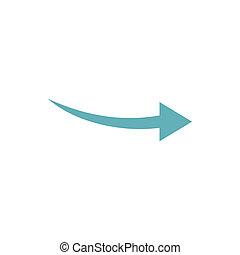 Curve arrow icon, flat style