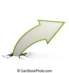 Curve arrow up green