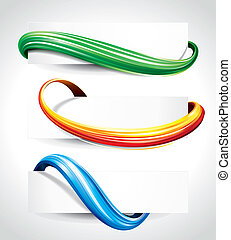 Curve Background - Set of abstract technology curve header ...