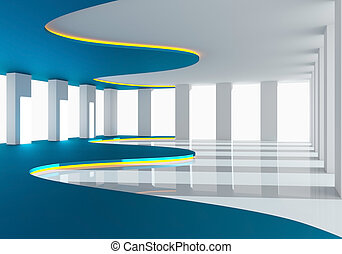 Curve blue empty room with reflect floor and hidden lighting...