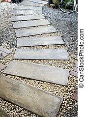 concrete walkway in garden