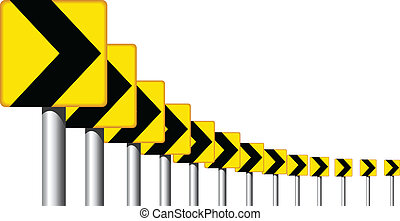 Editable vector design of roadsign arrows on a bend