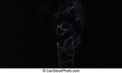Curve of aroma stick, smoke - White smoky cloud of aroma...