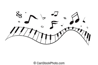 Black curve piano keyboard with floating song notes isolated on white background