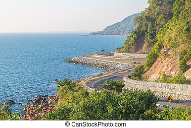 Curve road beside the sea