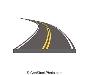 Curved and ditrection highway with markings - Road vector...