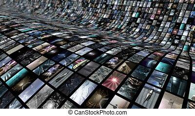 curved., animé, vidéo, 4k, loop-able, mur