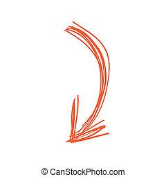 Curved arrow doodle in orange color - Vector illustration in...