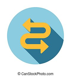 Curved arrow icon, flat style