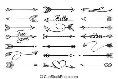 Curved arrows sketch. Hand drawn decorative black doodle ...