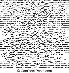 Curved black lines on white, abstract geometric pattern