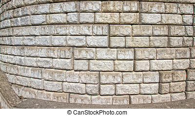 Curved Cut stone block wall - Curved cut stone and cement...