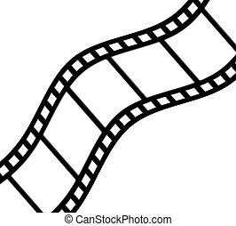 A diagonal, curved, film strip.