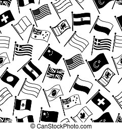 curved flags of different country seamless pattern eps10
