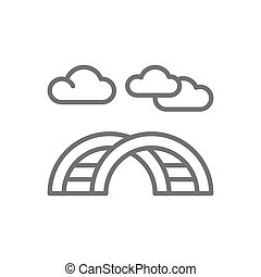 Curved ladder for playground line icon.