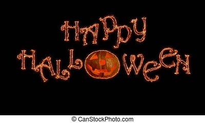 Curved lines crawl and gather to Happy Halloween greetings....