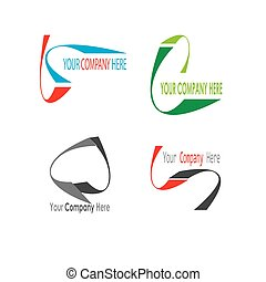 Curved logo template vector