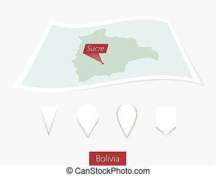 Curved paper map of Bolivia with capital Sucre on Gray Background. Four different Map pin set.