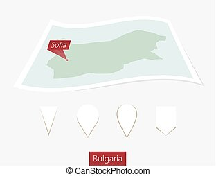 Curved paper map of Bulgaria with capital Sofia on Gray Background. Four different Map pin set.
