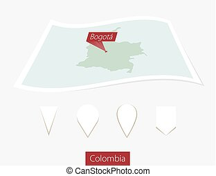 Curved paper map of Colombia with capital Bogota on Gray Background. Four different Map pin set.