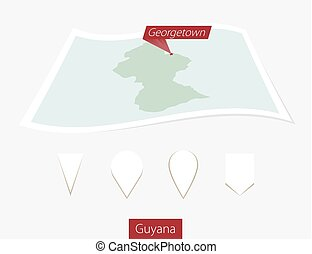 Curved paper map of Guyana with capital Georgetown on Gray Background. Four different Map pin set.