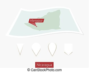 Curved paper map of Nicaragua with capital Managua on Gray Background. Four different Map pin set.