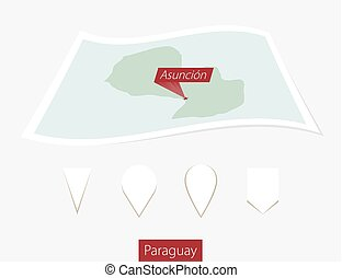 Curved paper map of Paraguay with capital Asuncion on Gray Background. Four different Map pin set.