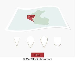 Curved paper map of Peru with capital Lima on Gray Background. Four different Map pin set.