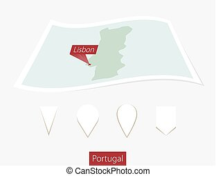 Curved paper map of Portugal with capital Lisbon on Gray Background. Four different Map pin set.