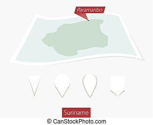 Curved paper map of Suriname with capital Paramaribo on Gray Background. Four different Map pin set.