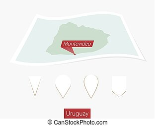 Curved paper map of Uruguay with capital Montevideo on Gray Background. Four different Map pin set.