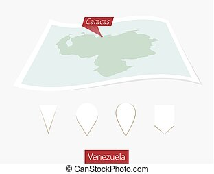 Curved paper map of Venezuela with capital Caracas on Gray Background. Four different Map pin set.