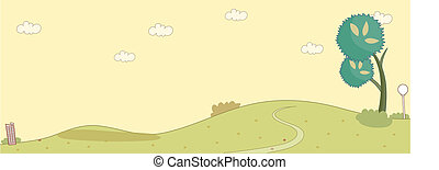 Curved path over a green landscape