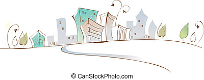 Curved path towards buildings - This illustration is a...