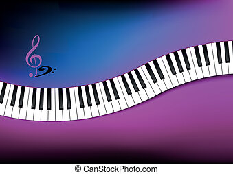Curved Piano Keyboard Background - Blue and Pink Curved...