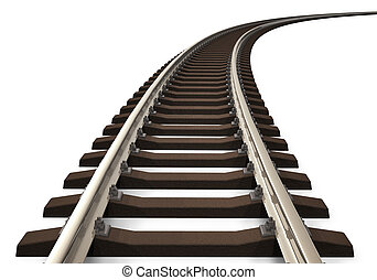 Curved railroad track - Single curved railroad track ...